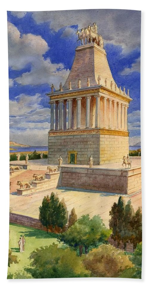 The Mausoleum At Halicarnassus; Seven Wonders Of The Ancient World; Mausoleum; Halicarnassus; King Of Caria Hand Towel featuring the painting The Mausoleum At Halicarnassus by English School