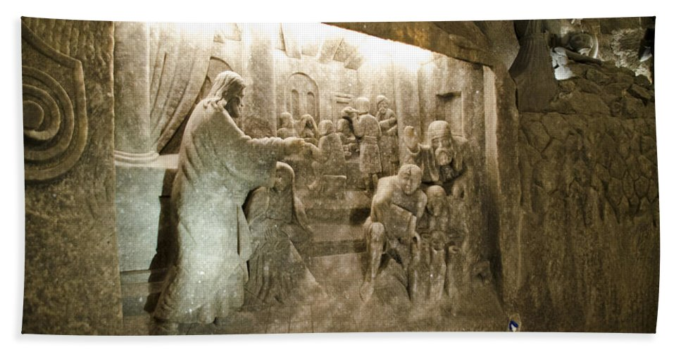 Wieliczka Salt Mine Hand Towel featuring the photograph The Miracle At Cana In Galilee - Wieliczka Salt Mine by Jon Berghoff