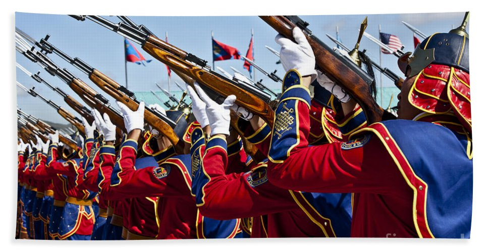 Ulaanbaatar Hand Towel featuring the photograph The Mongolian State Honor Guard by Stocktrek Images