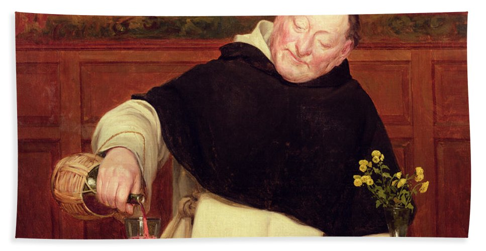 Food; Drink; Wine; Carafe; Crab; Dining; Holy; Tonsure; Flowers; Salt; Domestic; Pouring; Dominican; Friar; Monk Bath Sheet featuring the painting The Monk's Repast by Walter Dendy Sadler