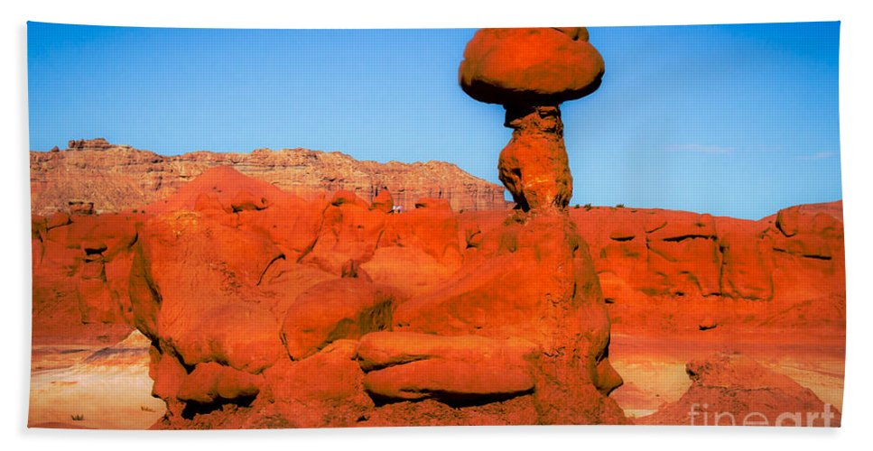 Goblin Valley Bath Sheet featuring the photograph The Monster by Robert Bales