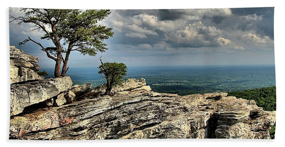 Hanging Rock State Park Hand Towel featuring the photograph The Mountain Lookout by Adam Jewell