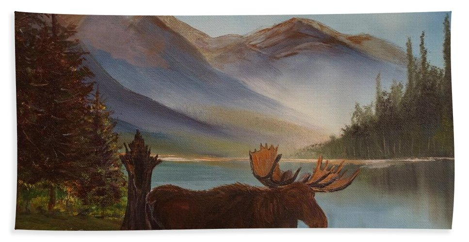 Moose Art Bath Sheet featuring the painting The Mountain Moose by Leslie Allen