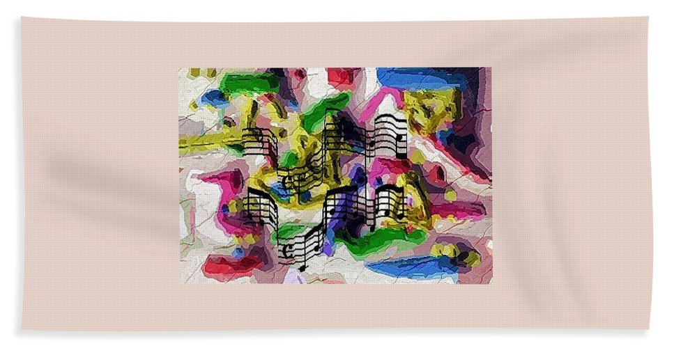 Abstract Hand Towel featuring the digital art The Music In Me by Alec Drake