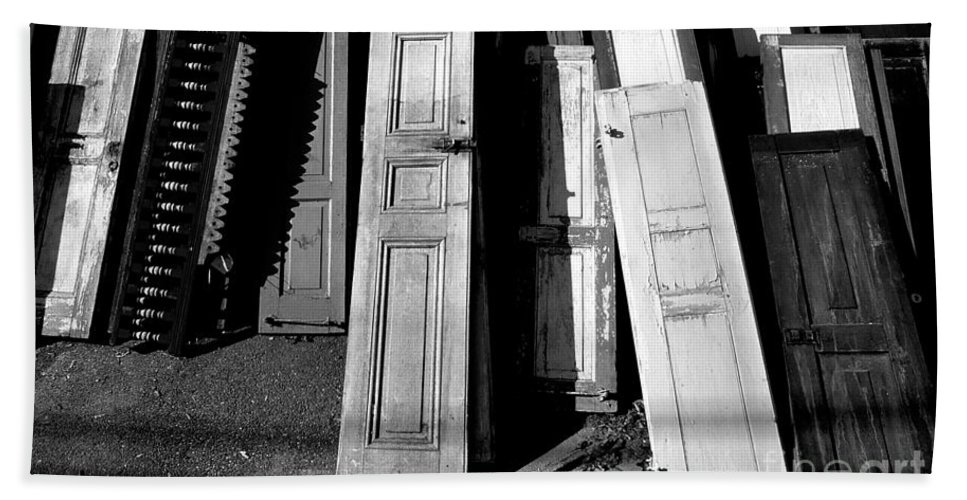 Doors Hand Towel featuring the photograph The Old Doors Bw by Mike Nellums