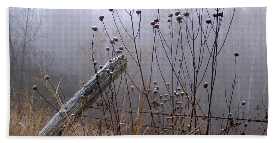 Fence Bath Sheet featuring the photograph The Old Fence - Blue Misty Morning by Angie Rea