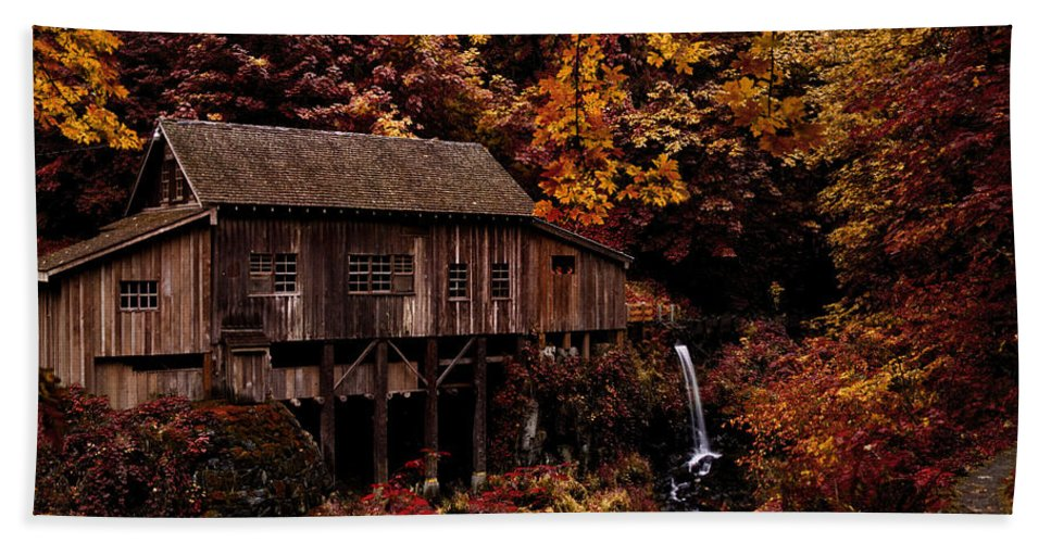 The Old Mill Stream Hand Towel featuring the photograph The Old Mill Stream by Wes and Dotty Weber
