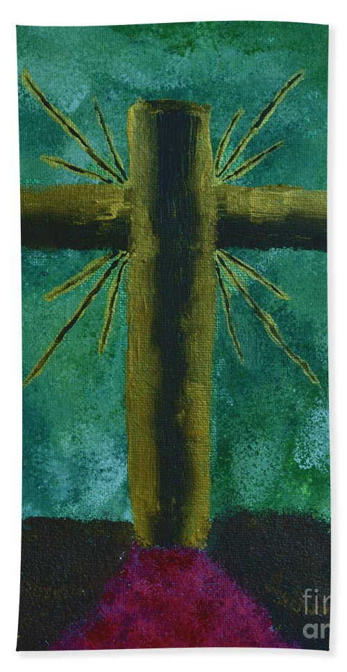 Cross Bath Sheet featuring the painting The Old Rugged Cross by Donna Brown