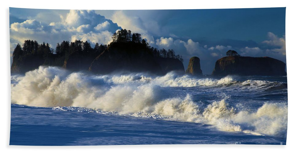 Rialto Beach Bath Sheet featuring the photograph The Olympic Blues by Adam Jewell