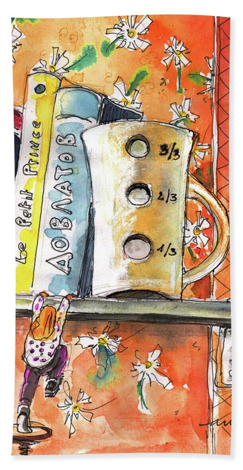 Fun Bath Sheet featuring the painting The One Third Mug by Miki De Goodaboom
