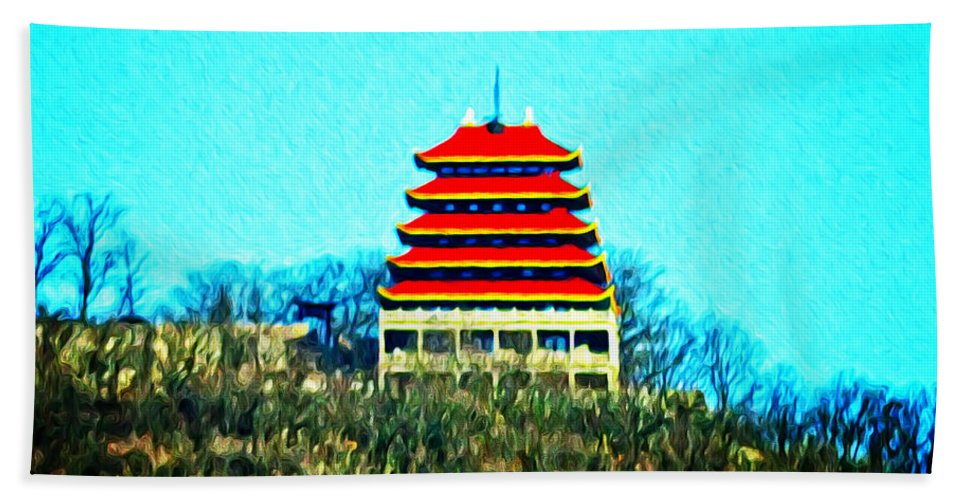 The Pagoda Hand Towel featuring the photograph The Pagoda by Bill Cannon