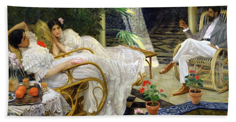 Fountain Hand Towel featuring the painting The Patio by Henri Zo