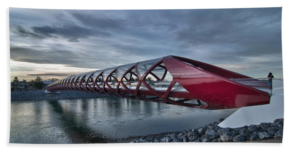 Bow River Bridge Bath Sheet featuring the photograph The Peace Bridge by Guy Whiteley