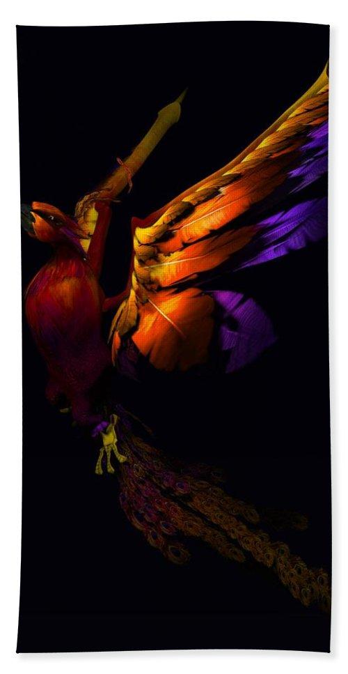 Phoenix Hand Towel featuring the digital art The Phoenix Rising... by Tim Fillingim