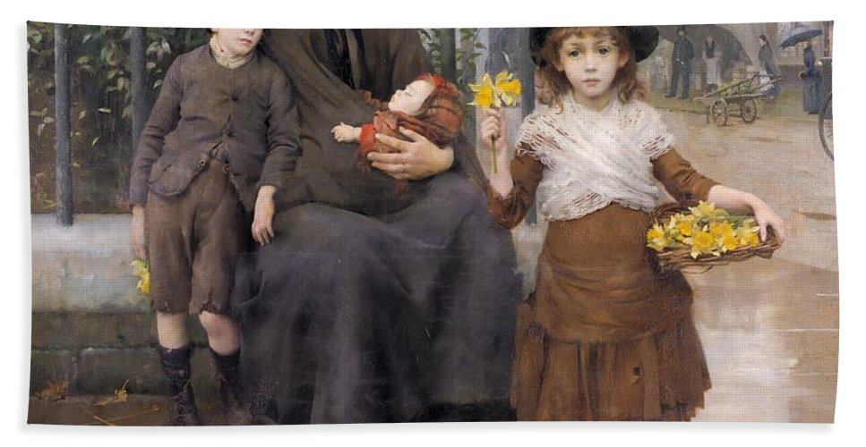 Mother Hand Towel featuring the painting The Pinch Of Poverty by Thomas Benjamin Kennington