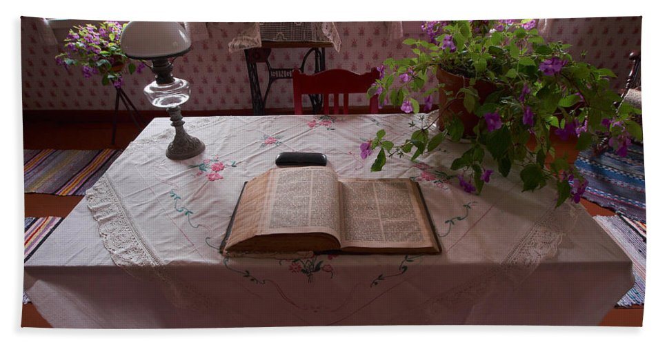 Seitseminen Hand Towel featuring the photograph The Place Of The Bible In Kovero by Jouko Lehto