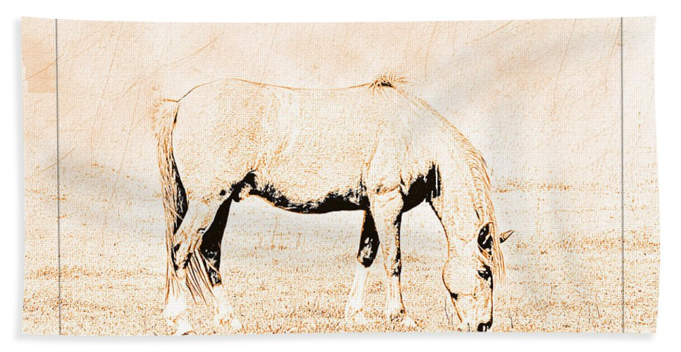 Nature Hand Towel featuring the digital art The Pony by Debbie Portwood