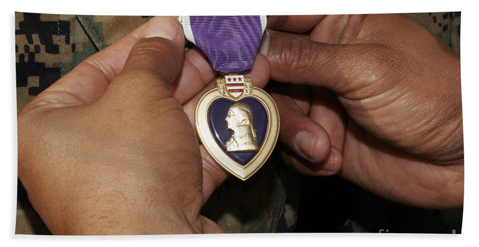 Close-up Bath Sheet featuring the photograph The Purple Heart Award by Stocktrek Images