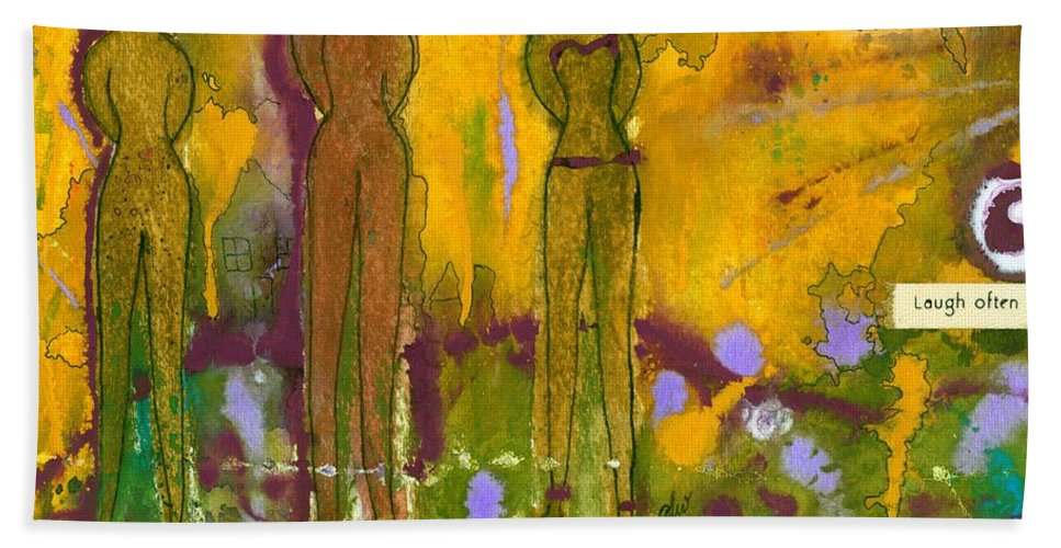 Spiritual Bath Sheet featuring the mixed media The Purpose Seekers by Angela L Walker