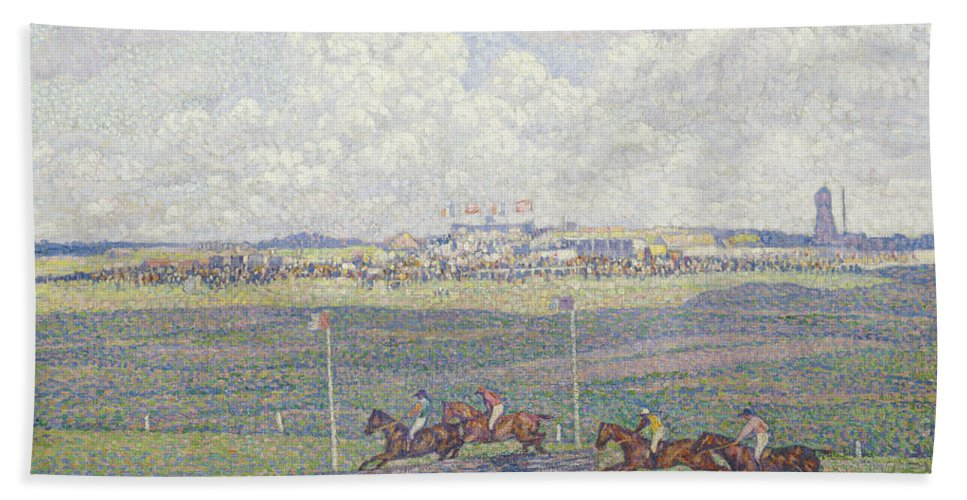 Le Champ De Courses A Boulogne-sur-mer Hand Towel featuring the painting The Racecourse At Boulogne-sur-mer by Theo van Rysselberghe