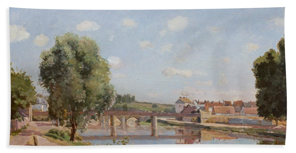 The Bath Towel featuring the painting The Railway Bridge by Camille Pissarro