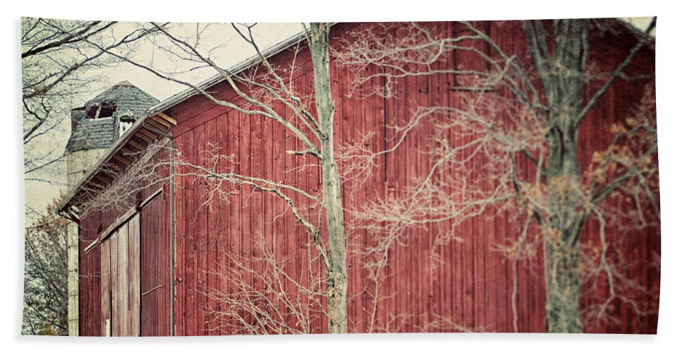 Lisa Russo Hand Towel featuring the photograph The Red Barn by Lisa Russo