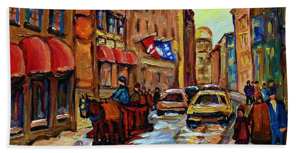 Horses Hand Towel featuring the painting The Red Sled by Carole Spandau