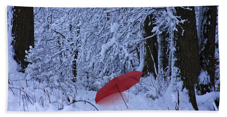 Winter Bath Sheet featuring the photograph The Red Umbrella by Ron Jones