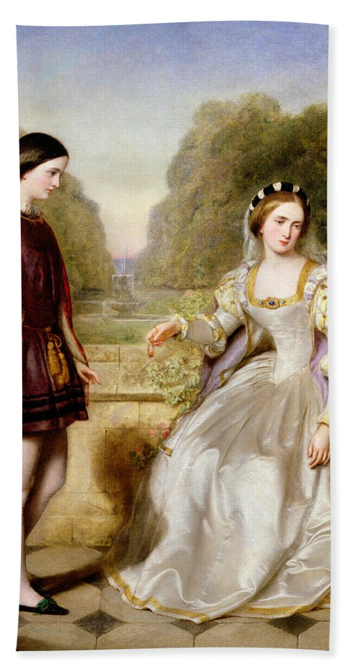 Sentimental; Victorian; Medieval Costume; Male; Female; Page; Love Lost;loss; Refusing A Proposal; Marriage; Locket; Miniature Portrait; Messenger; Plumed Hat; Cape; Tights; Headdress; Terrace; Garden; Fountain; Unrequited; Pre-raphaelite; C16th Costume; Sentimentality Bath Sheet featuring the painting The Refusal by Edward Hughes