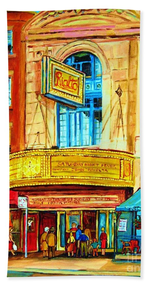 Street Scene Bath Towel featuring the painting The Rialto Theatre by Carole Spandau