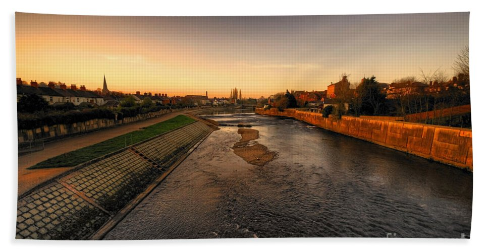 River Bath Sheet featuring the photograph The River Exe At Tiverton by Rob Hawkins