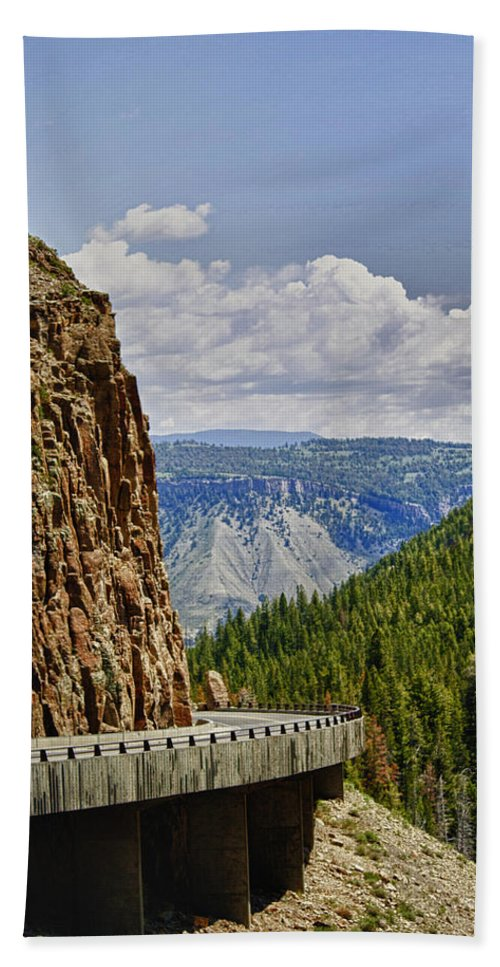 Big Horn National Park Bath Sheet featuring the photograph The Road Less Traveled by Linda Dunn