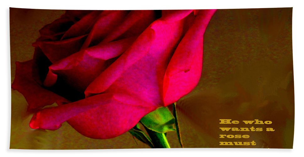 Rose Hand Towel featuring the photograph The Rose And Thorn by Ian MacDonald