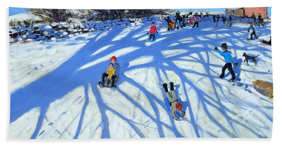 Sledge Bath Sheet featuring the painting The Shadow Derbyshire by Andrew Macara