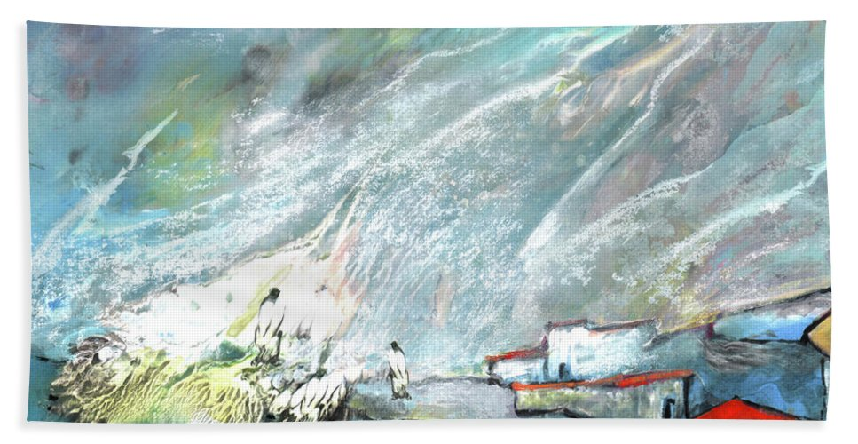 Impressionism Hand Towel featuring the painting The Shores Of Galilee by Miki De Goodaboom