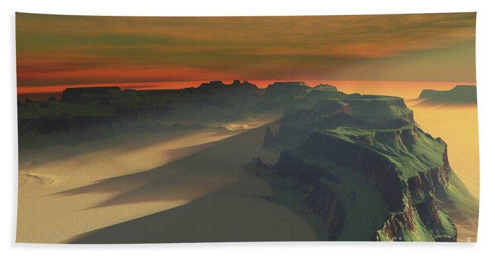 Sand Bath Sheet featuring the digital art The Sun Sets On This Desert Landscape by Corey Ford
