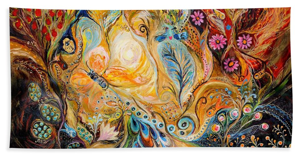 Original Bath Sheet featuring the painting The Sunrise ... Visit Www.elenakotliarker.com by Elena Kotliarker
