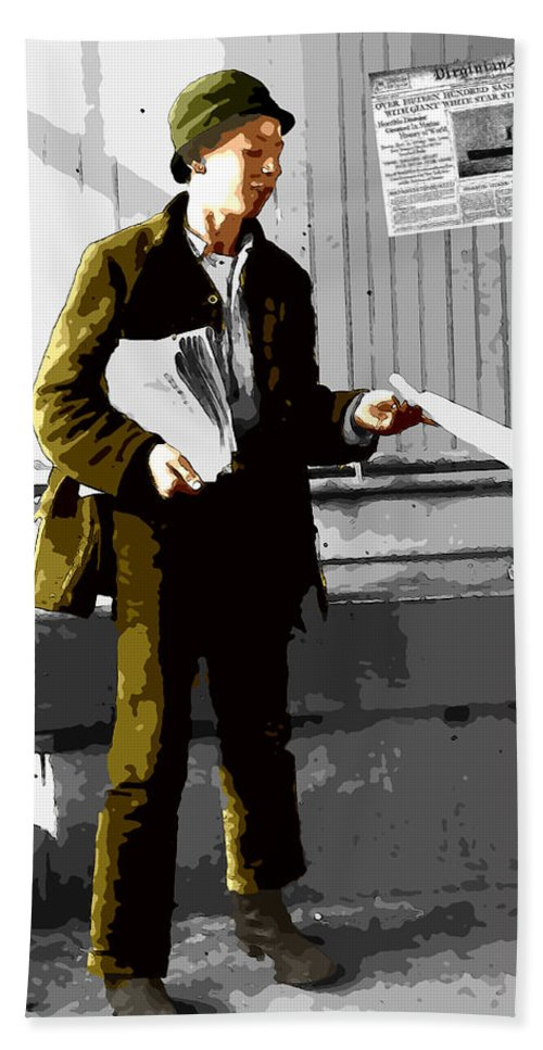 Paper New Paperboy Seller Selling Disaster Titanic 1912 Sunk Extra News Post Bath Sheet featuring the digital art The Titanic Disaster by Steve K