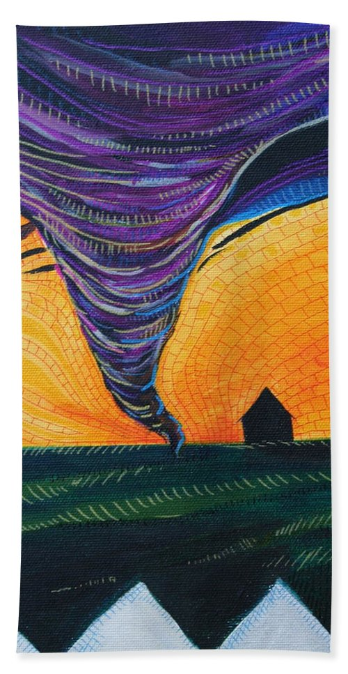 Wizard Of Oz Bath Towel featuring the painting The Tornado by Kate Fortin