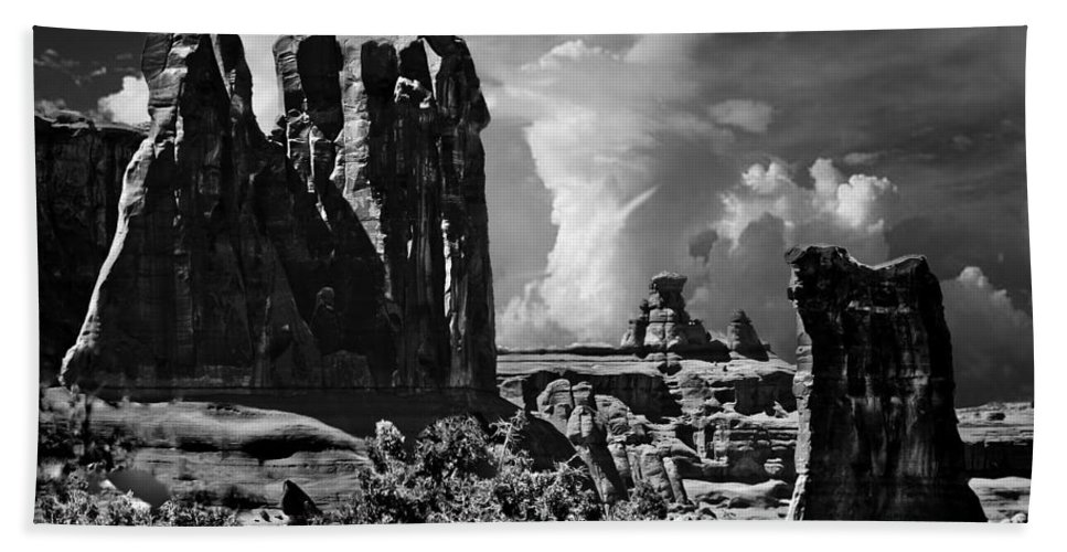 Arches Hand Towel featuring the digital art The Tribunal Arches National Park by Bob and Nadine Johnston
