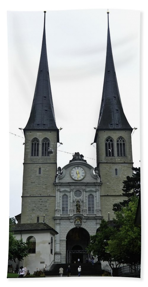 Building Hand Towel featuring the photograph The Twin Spires Of Hof Church In Lucerne by Ashish Agarwal