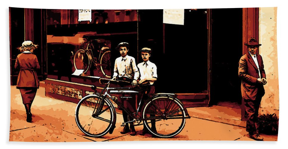 Boy Boys Vintage Poster Store Bicycle Woman Man Comic Art Bath Sheet featuring the mixed media The Two Boys by Steve K