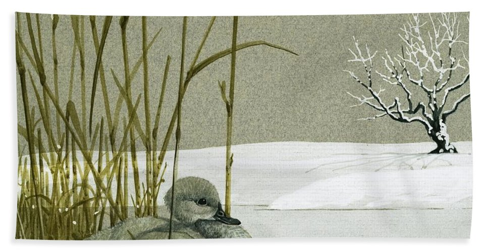Animals; Nature; Wildlife; Ducks ;duckling; Swan Bath Sheet featuring the painting The Ugly Duckling by English School