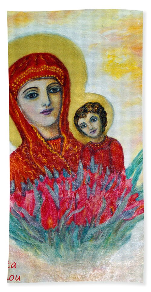 Virgin Hand Towel featuring the painting The Virgin And The Child by Augusta Stylianou