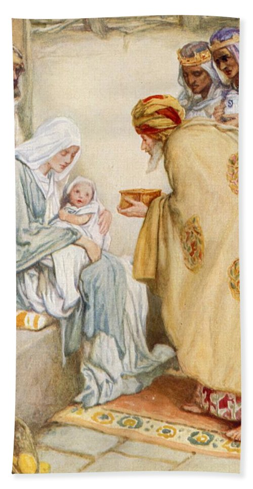 The Visit Of The Wise Men Hand Towel featuring the painting The Visit Of The Wise Men by Arthur A Dixon