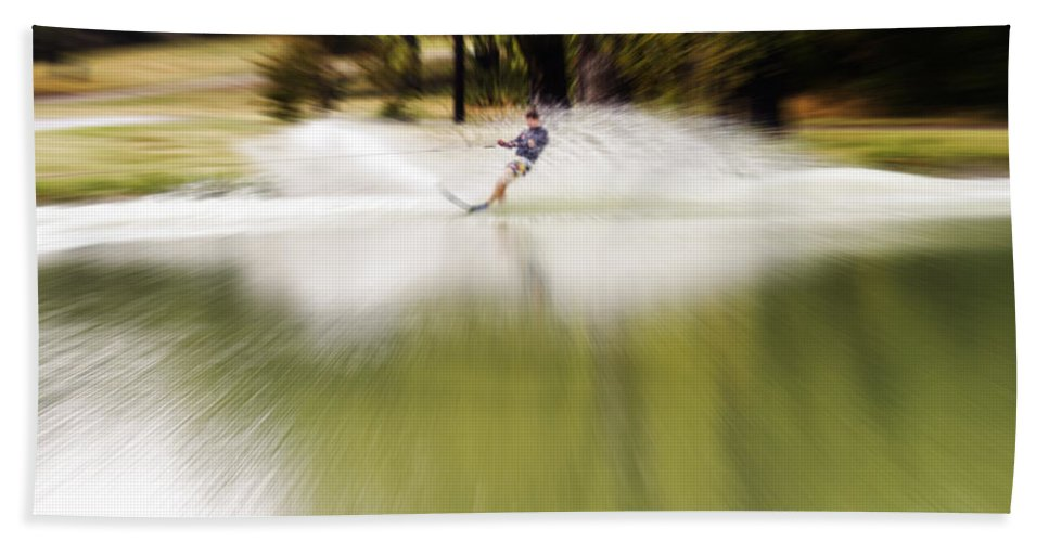 The Water Skier Bath Sheet featuring the photograph The Water Skier 1 by Douglas Barnard