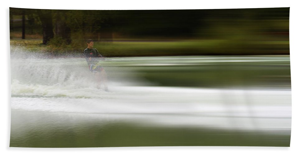 The Water Skier Bath Sheet featuring the photograph The Water Skier 2 by Douglas Barnard