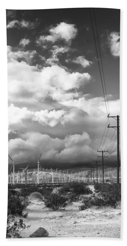 Windmills Bath Sheet featuring the photograph The Way Of The Wind Palm Springs by William Dey