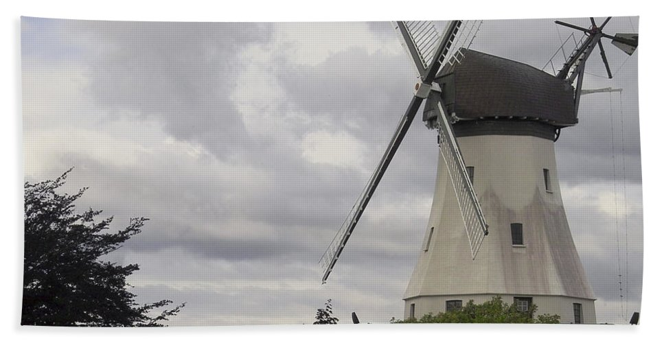 Windmills Bath Sheet featuring the photograph The White Windmill by Heiko Koehrer-Wagner