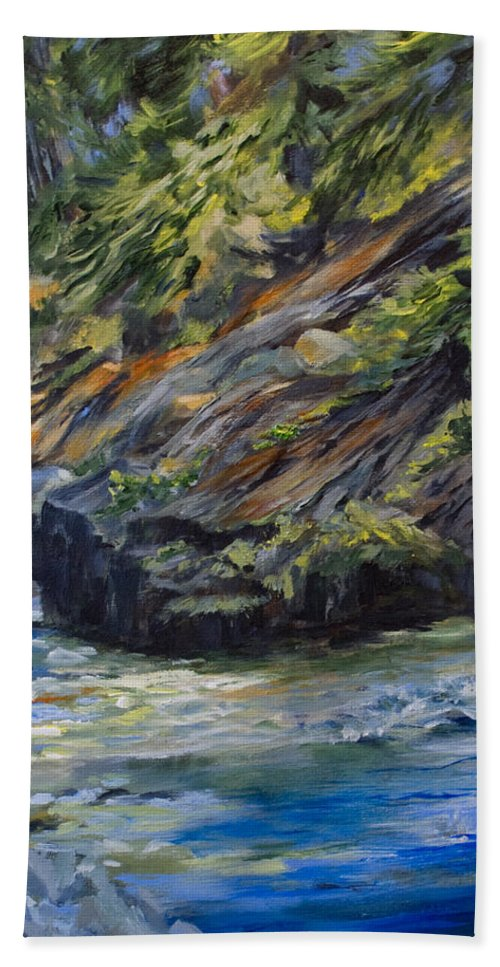 Shoreline Hand Towel featuring the painting The Whiteshell Shoreline by Jo Smoley
